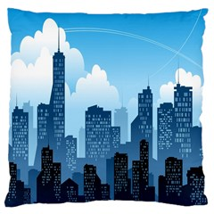 City Building Blue Sky Large Cushion Case (one Side)