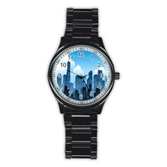 City Building Blue Sky Stainless Steel Round Watch