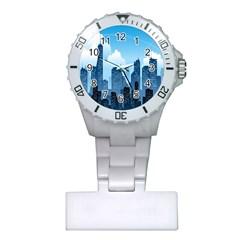 City Building Blue Sky Plastic Nurses Watch