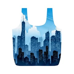 City Building Blue Sky Full Print Recycle Bags (m)