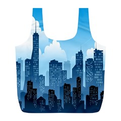 City Building Blue Sky Full Print Recycle Bags (l)