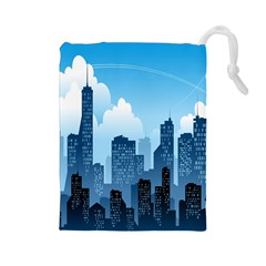 City Building Blue Sky Drawstring Pouches (large)