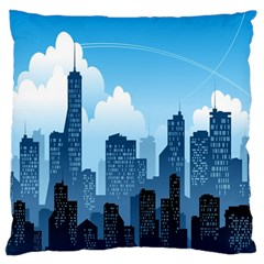 City Building Blue Sky Large Flano Cushion Case (one Side)