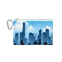 City Building Blue Sky Canvas Cosmetic Bag (s)