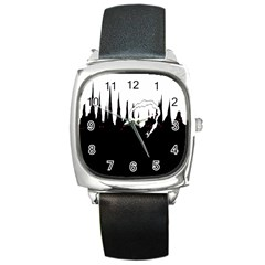 City History Speedrunning Square Metal Watch