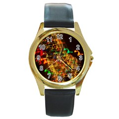 Christmas Tree Light Color Night Round Gold Metal Watch