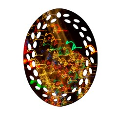 Christmas Tree Light Color Night Oval Filigree Ornament (two Sides)