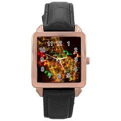 Christmas Tree Light Color Night Rose Gold Leather Watch