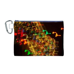 Christmas Tree Light Color Night Canvas Cosmetic Bag (m)