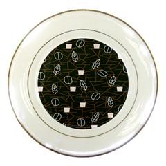 Espresso Cofee Glass Line Chevron Porcelain Plates
