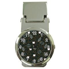 Espresso Cofee Glass Line Chevron Money Clip Watches