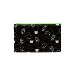 Espresso Cofee Glass Line Chevron Cosmetic Bag (xs)