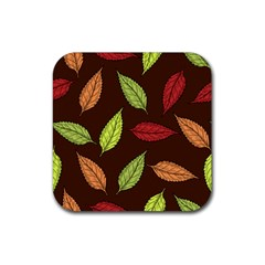 Autumn Leaves Pattern Rubber Coaster (square)