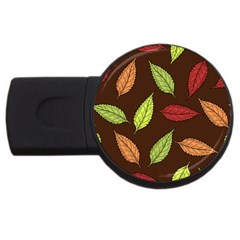 Autumn Leaves Pattern Usb Flash Drive Round (2 Gb)