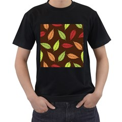 Autumn Leaves Pattern Men s T Shirt (black) (two Sided)