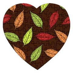 Autumn Leaves Pattern Jigsaw Puzzle (heart)