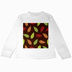 Autumn Leaves Pattern Kids Long Sleeve T Shirts