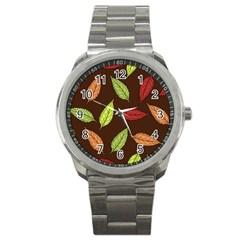 Autumn Leaves Pattern Sport Metal Watch