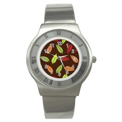 Autumn Leaves Pattern Stainless Steel Watch