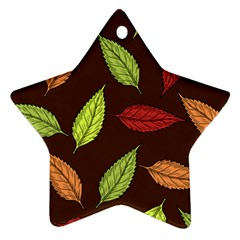 Autumn Leaves Pattern Star Ornament (two Sides)