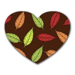 Autumn Leaves Pattern Heart Mousepads