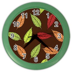 Autumn Leaves Pattern Color Wall Clocks