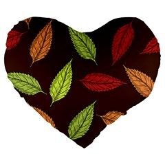 Autumn Leaves Pattern Large 19  Premium Flano Heart Shape Cushions