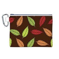 Autumn Leaves Pattern Canvas Cosmetic Bag (l)
