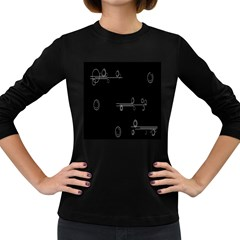 Feedback Loops Motion Graphics Piece Women s Long Sleeve Dark T Shirts