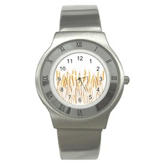 Wheat Plants Stainless Steel Watch