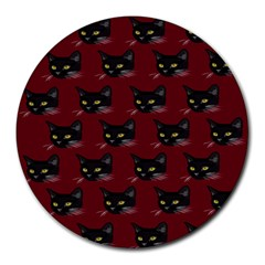 Face Cat Animals Red Round Mousepads
