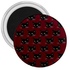 Face Cat Animals Red 3  Magnets