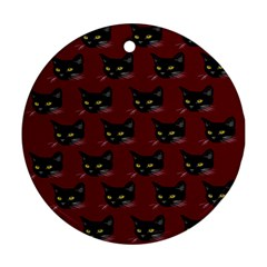 Face Cat Animals Red Ornament (round)