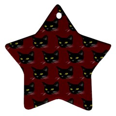 Face Cat Animals Red Ornament (star)
