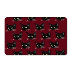 Face Cat Animals Red Magnet (rectangular)