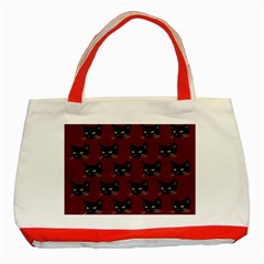 Face Cat Animals Red Classic Tote Bag (red)