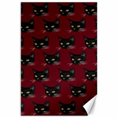 Face Cat Animals Red Canvas 24  X 36