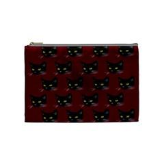 Face Cat Animals Red Cosmetic Bag (medium)