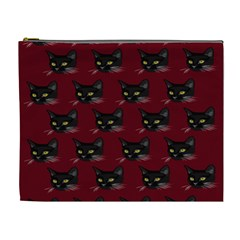 Face Cat Animals Red Cosmetic Bag (xl)