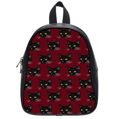 Face Cat Animals Red School Bag (small)