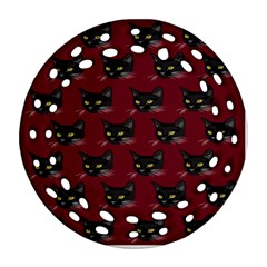 Face Cat Animals Red Round Filigree Ornament (two Sides)