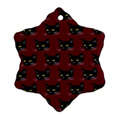 Face Cat Animals Red Snowflake Ornament (two Sides)