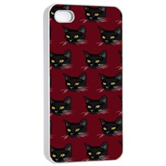 Face Cat Animals Red Apple Iphone 4/4s Seamless Case (white)