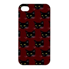 Face Cat Animals Red Apple Iphone 4/4s Premium Hardshell Case