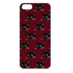 Face Cat Animals Red Apple Iphone 5 Seamless Case (white)