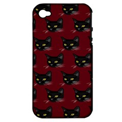 Face Cat Animals Red Apple Iphone 4/4s Hardshell Case (pc+silicone)