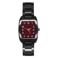 Face Cat Animals Red Stainless Steel Barrel Watch