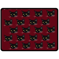 Face Cat Animals Red Double Sided Fleece Blanket (large)