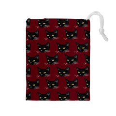 Face Cat Animals Red Drawstring Pouches (large)