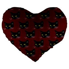 Face Cat Animals Red Large 19  Premium Flano Heart Shape Cushions